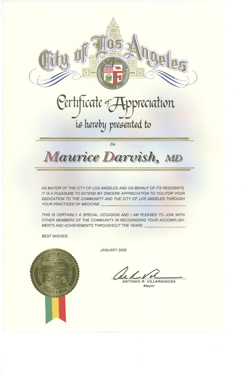 Concierge medicinela physician team presidential physical click here to see dr darvishs certificate of appreciation from the city of los angeles yelopaper Choice Image